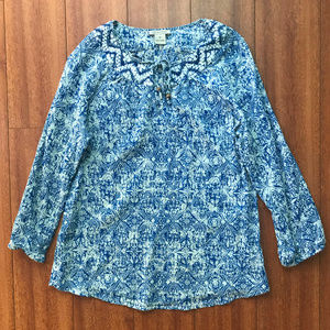 Lucky Brand Gauze Long Sleeve Blouse